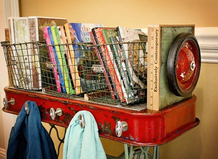 Repurposed Red Wagon Sewing Machine Base Storage Table by GadgetSponge