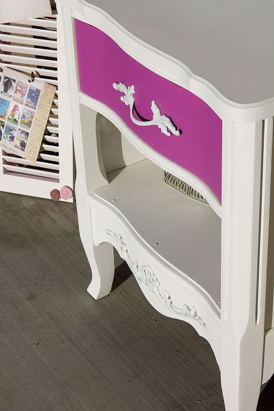 beautiful pink french provincial side table, painted furniture