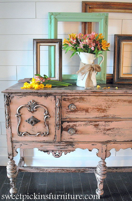 antique pink buffet w sweet pickins milk paint, painted furniture