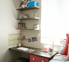 diy built desk nightstand combination with shelves storage and drawers stained bedroom ideas
