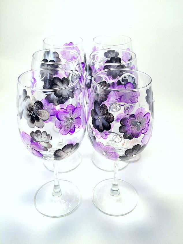 Purple and black floral with crystal centers by Brushes with A View