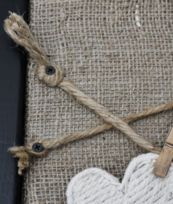 Twine was cut to size, then knotted at the ends, attached with screws.
