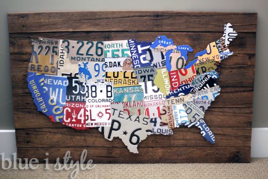 a license plate map high low project, diy, pallet, repurposing upcycling, woodworking projects, A license plate map printed on metal and mounted to a backgound of reclaimed pallet wood captures the look of the original at a fraction of the cost