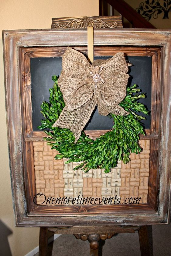 Cork/chalkboard board was made with a frame, corks and top portion was painted with chalkboard paint