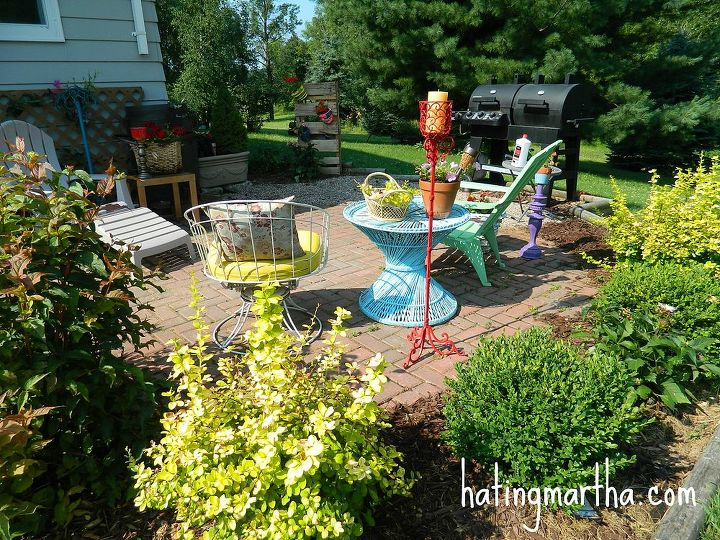 fun and bright brick patio, outdoor furniture, outdoor living, patio
