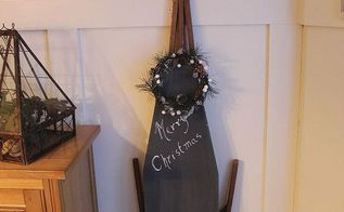 turning a vintage ironing board into a message centre, chalkboard paint, painting, repurposing upcycling, seasonal holiday decor, wreaths, By leaving the base natural wood the black paint really pops especially against the board and batten trim in my kitchen