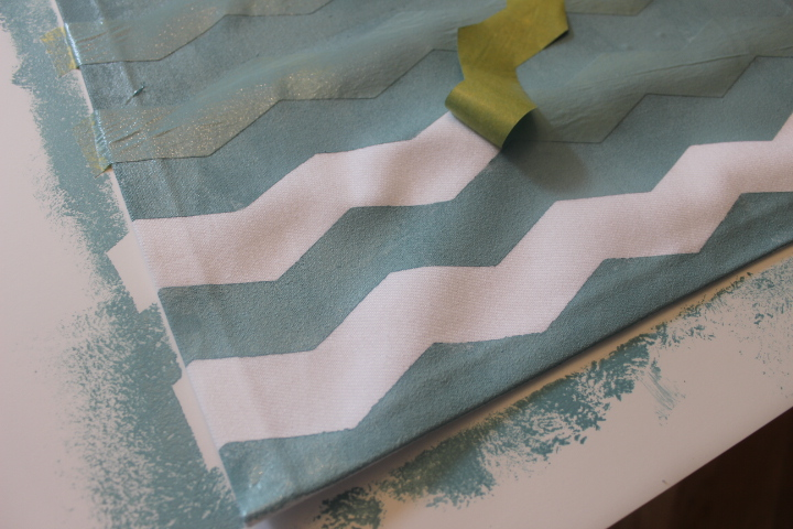 You can see the clean lines that was created because I made sure the tape was adhered well to the fabric.