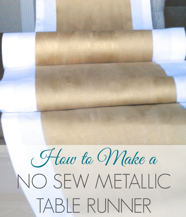 make a no sew metallic table runner, crafts, I started off with a nice heavy white fabric from JoAnns I wanted it to have the texture and feel of fine linen napkins and I think that s the key to getting a high end look