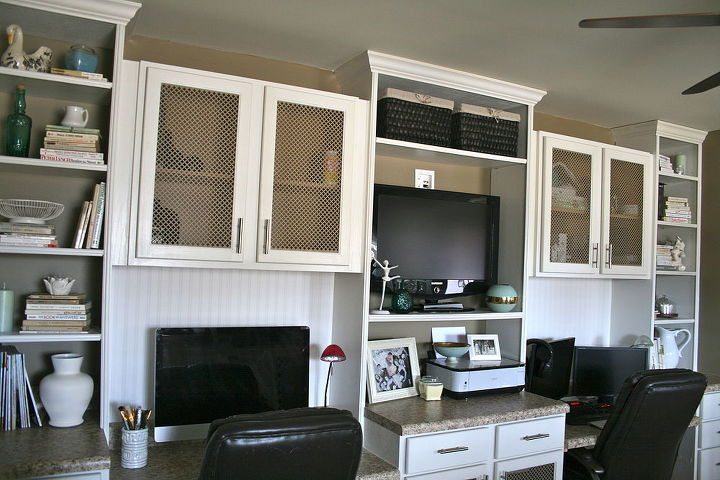 Diy Office Built In For Two Using Prefab Cabinetry And Basic Carpentry Skills Craft Rooms