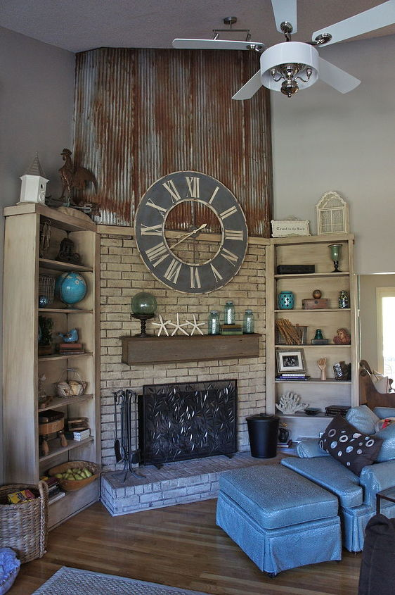 Completed fireplace with repurposed items by Bella Tucker Decorative Finishes