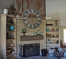 Elegant Repurposed Using An Old Barn Tin Roof And Barn Wood For A Fireplace  Makeover, Fireplaces