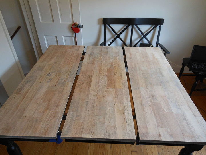 before and after painted dining table top to refinished natural wood, painted furniture, woodworking projects