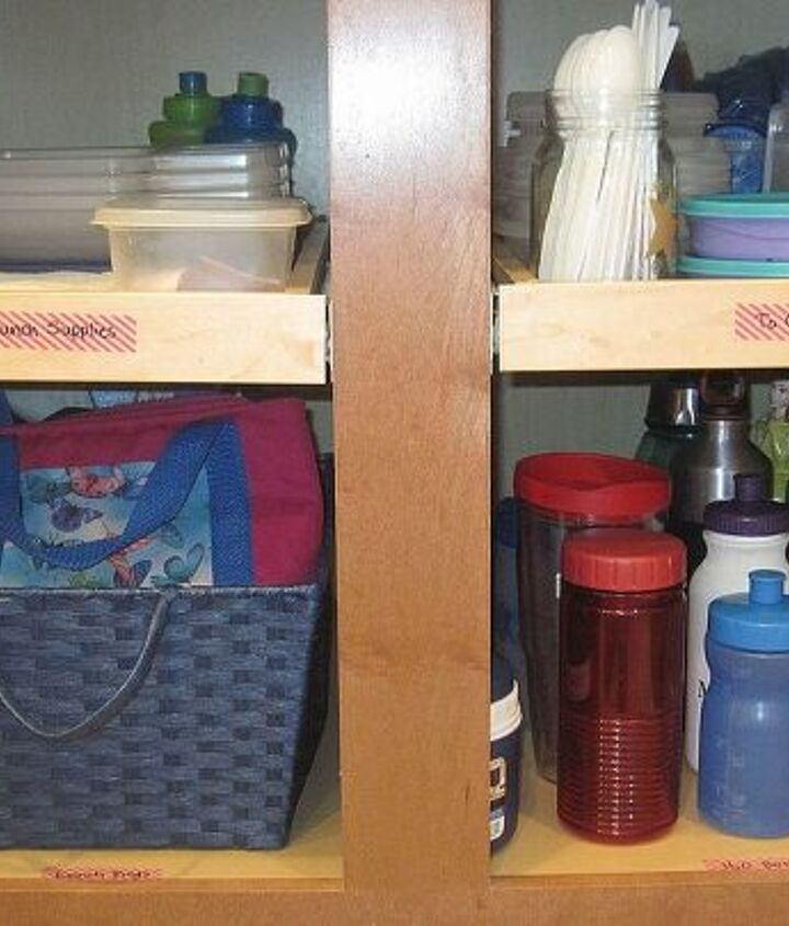 """Every morning I pack my kids' lunches.  I used to have to open at least 3 different cabinets for lunchboxes, cups, & plastic containers.  I streamlined the process by creating a """"To Go"""" cabinet."""