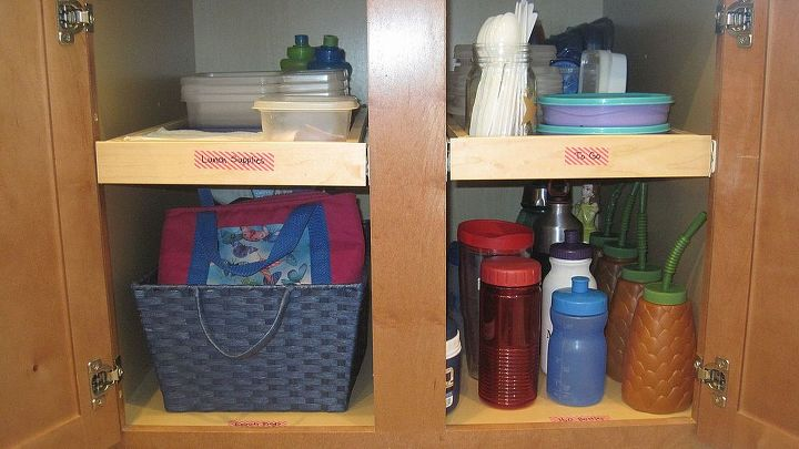 "Every morning I pack my kids' lunches.  I used to have to open at least 3 different cabinets for lunchboxes, cups, & plastic containers.  I streamlined the process by creating a ""To Go"" cabinet."