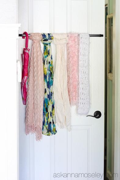 diy scarf hanger, storage ideas
