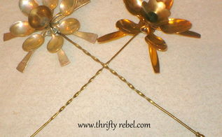 how to make cutlery flowers using spoons, crafts, flowers, gardening, repurposing upcycling, Here are two of the flowers with their stems attached