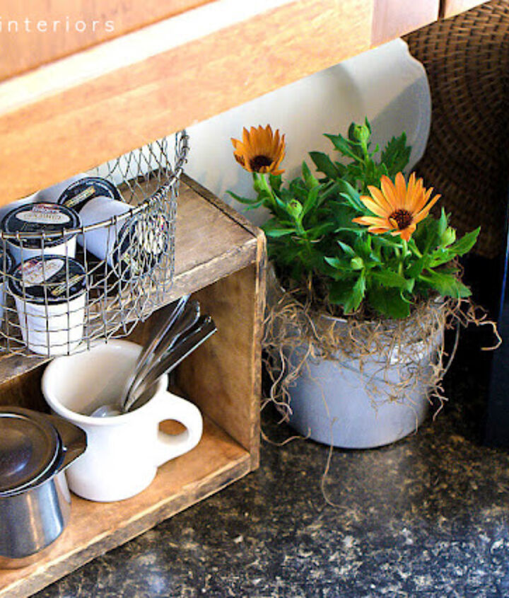 I love repurposed things, so creating a little coffee station out of a crate and deep fryer basket really junked things up.. and made them prettier too! http://www.funkyjunkinteriors.net/2012/04/coffee-pod-storage-with-crate-and.html
