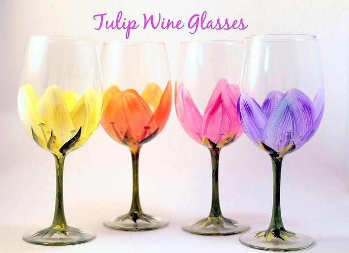 Tulip WIne Glasses by Brushes with A View