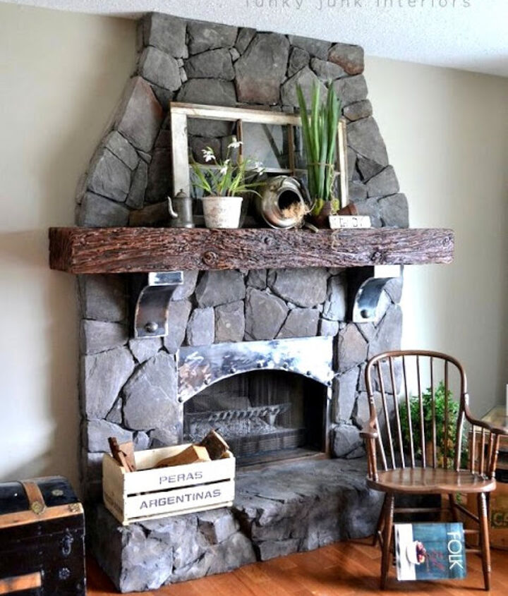 revamping an outdated brick fireplace without destruction, concrete masonry, fireplaces mantels, home decor, This floor to ceiling fireplace was created with only additions and creativity No hammer needed