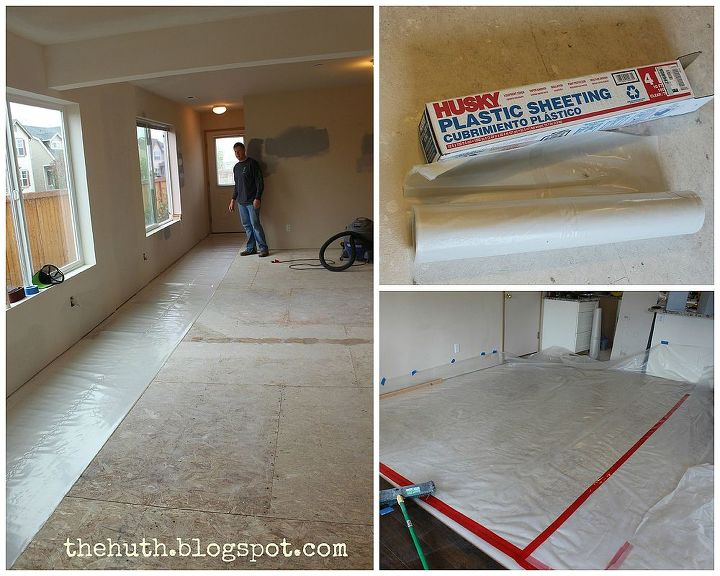 laminate floor installation, diy, flooring, how to, living room ideas, Floor Prep If you have a crawlspace like us floor prep will include laying underlayment as a vapor barrier We used 10 and 3 sheeting connected with sheathing tape Each piece needs to overlap by 18