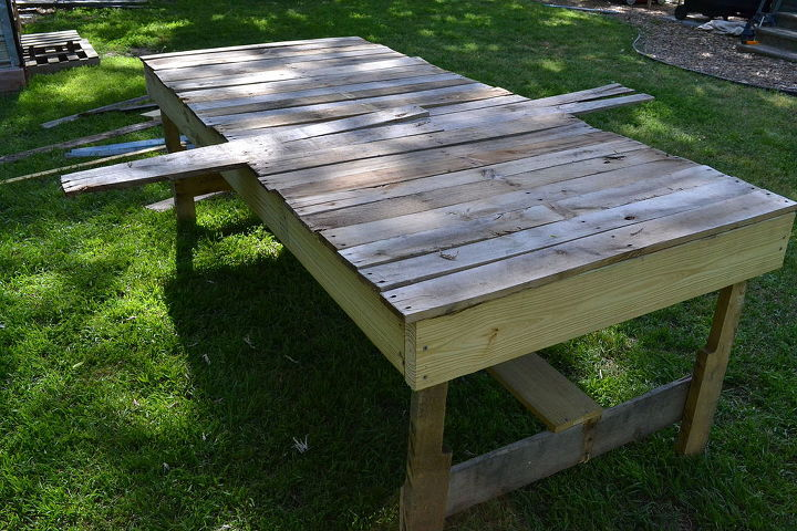 mostly pallet wood farmhouse table with gutter succulent planter, diy, flowers, gardening, how to, outdoor furniture, outdoor living, painted furniture, pallet, repurposing upcycling, succulents, woodworking projects