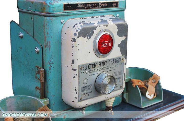 repurposed vintage sears electric fence charger box lamp, repurposing upcycling