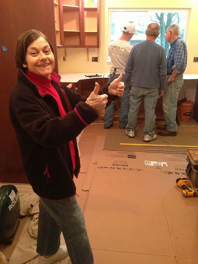 """Mom gives 2 """"likes"""" for her countertop template, as the sink layout is discussed by the team."""