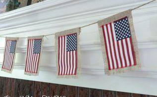 diy burlap flag bunting, crafts, patriotic decor ideas, seasonal holiday decor