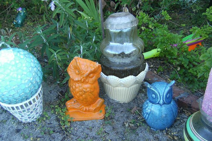 Some owls - also charity shop finds which have been spray painted.