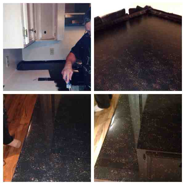 faux granite countertops for 150 we scuffed up the old beige laminat, countertops, diy, kitchen design, Start to finish