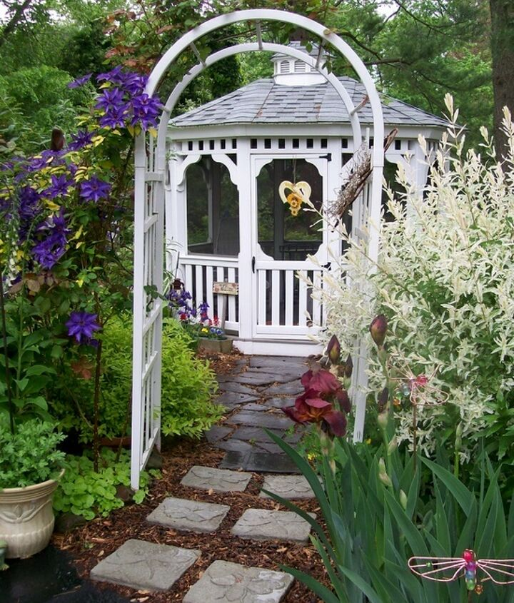 5 years before amp after in our fairfield garden, flowers, gardening, landscape, outdoor living, After a side yard full of ivy becomes a gazebo garden