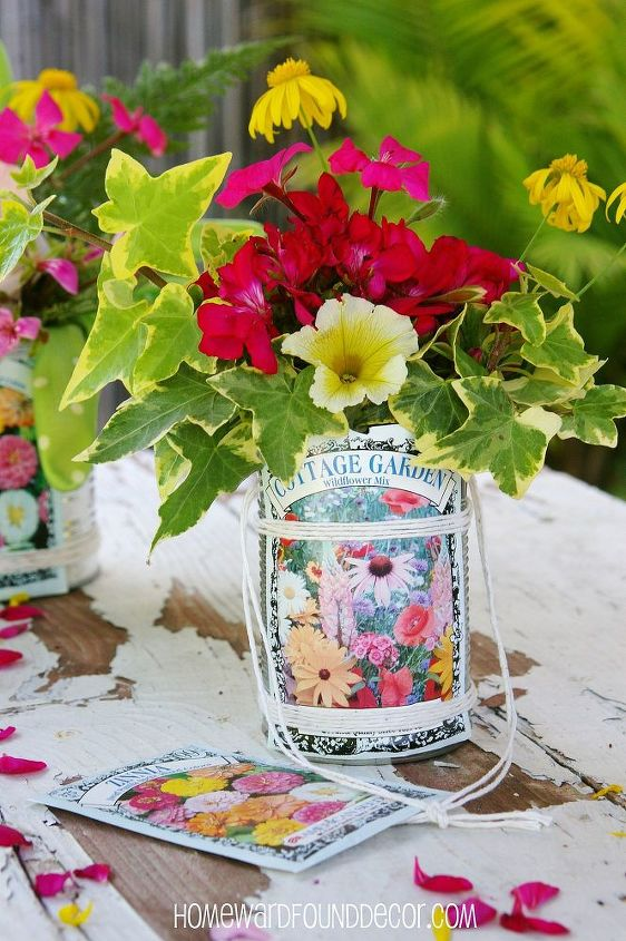 Tin cans, seed packets, and string combine to create darling little flower baskets/buckets for May Day giving!