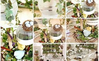 springfever outdoor spring solar centerpiece, decks, home decor, outdoor living, Outdoor Spring Centerpiece using a little bit of this and a little bit of that DIY Galvanized tray frosted bowls grapevine wreath birds nest and more