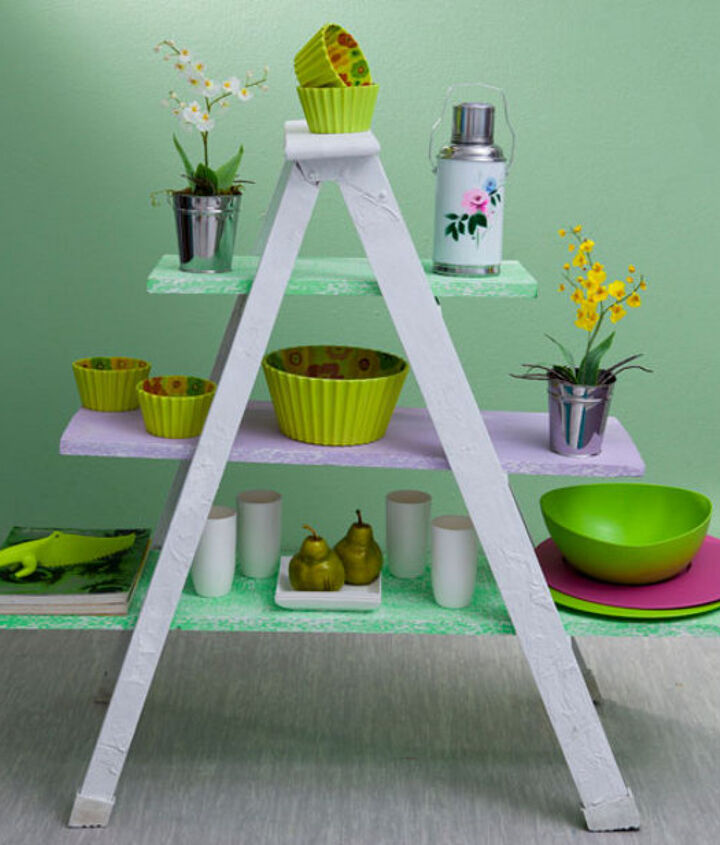 A small simple ladder can be repurposed easily. All you need is a fresh coat of paint and a few interesting accessories!