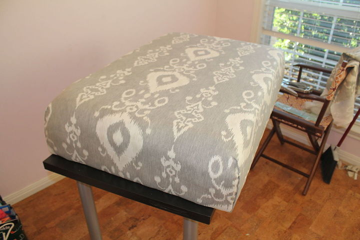 from shabby to chic diy upholstered ottoman makeover, crafts, painted furniture, reupholster