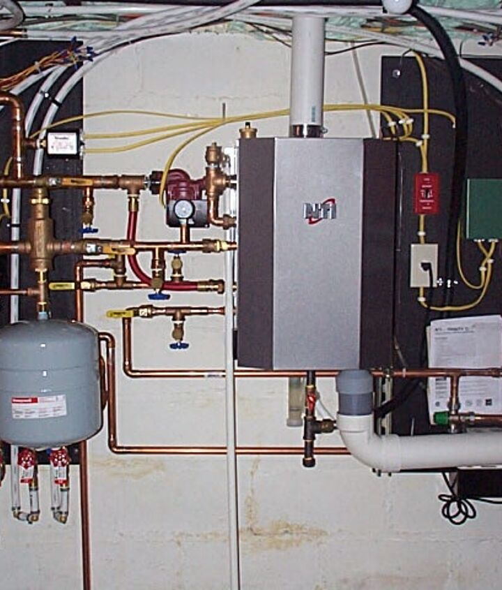 NTI Combi boiler. Top of the line.  Takes up a lot of wall space to install properly. Boiler heat exchanger is only as around as a five gallon bucket and deep as about one half the height of that same bucket. 110 lbs total.