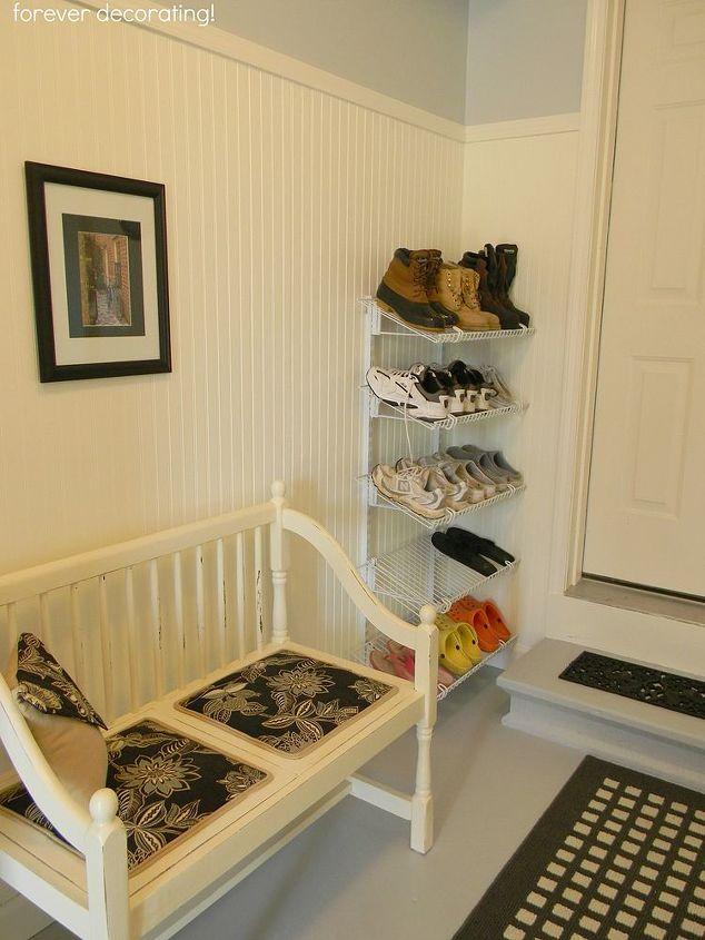 vintage settee and shoe rack area.