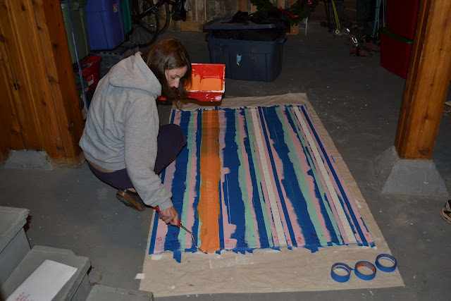 Made stripes with painters blue tape and marked the colors on each stripe as a guide