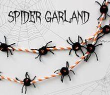 halloween spider garland, crafts, halloween decorations, seasonal holiday decor, Halloween Spider Garland made from paper straws and pom pom spiders