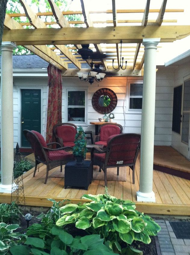 this is one of many favorite sitting spots in our backyard sanctuary that my husband, decks, gardening, outdoor living, patio, Deck and Pergola addition