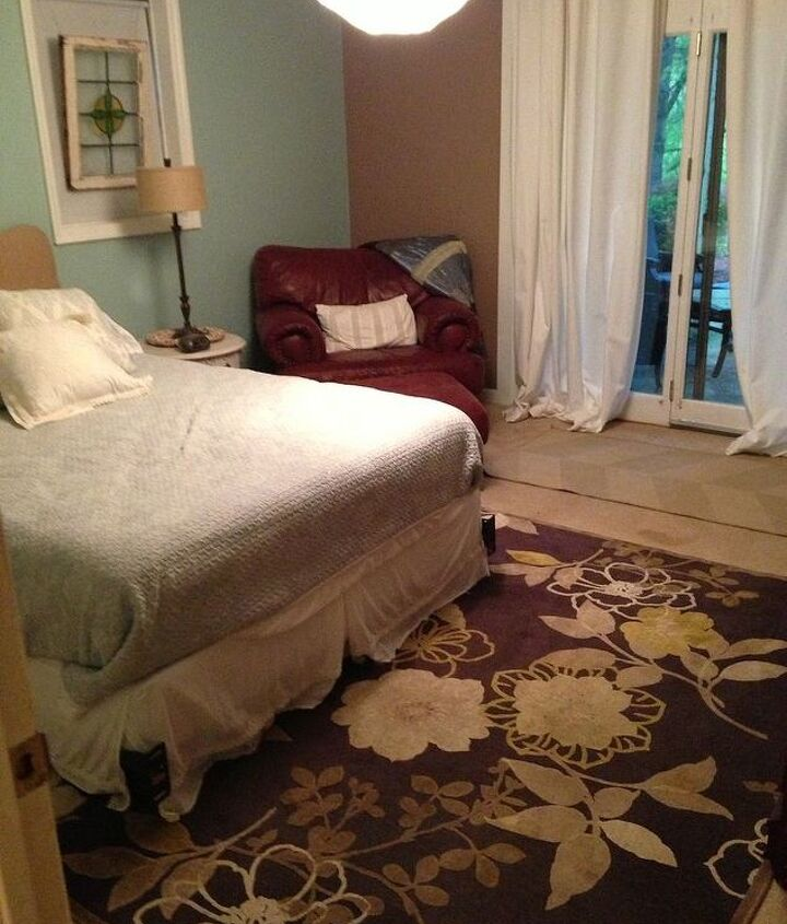 goodbye carpet hello stenciled floor with annie sloan chalk paint, bedroom ideas, chalk paint, flooring, painting, The bedroom before with dirty carpet