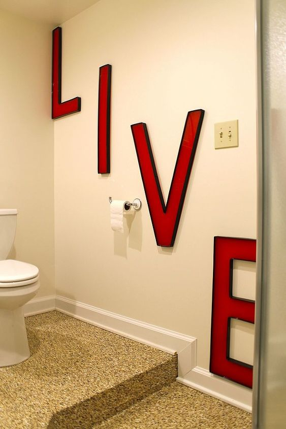 q i need decorating advice for this bathroom, bathroom ideas, home decor, I added these cute letters for the first pop of color