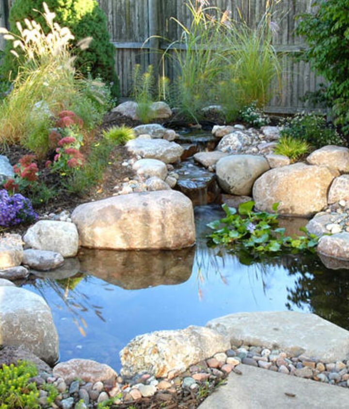 This 4'x6' pond was installed using a DIY kit. It sits right next to the patio providing a great view.