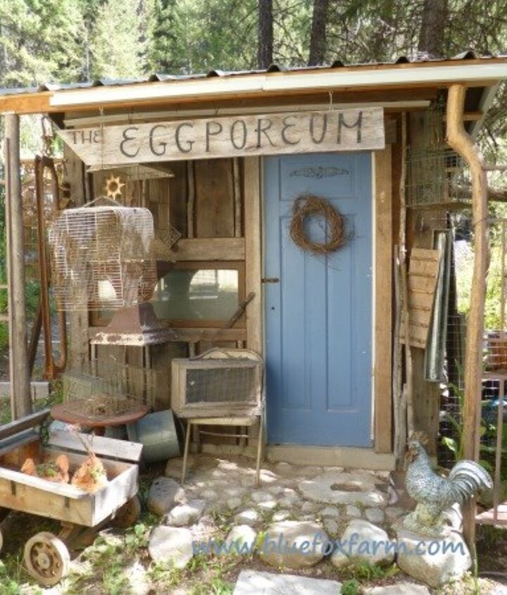 Blue door, lots of funky salvage to display in front, what more could a junk gardener ask for?