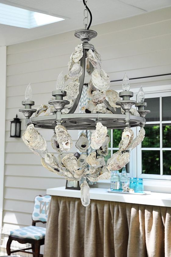 Oyster shell chandelier hometalk oyster shell chandelier crafts lighting aloadofball Image collections