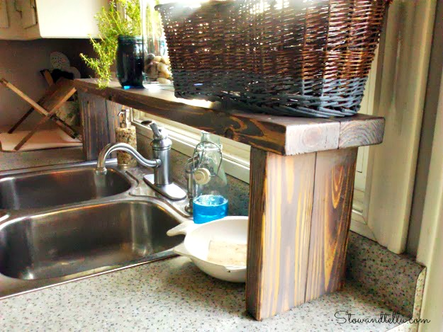 Over The Sink Kitchen Shelf Over the sink shelf from pallet wood hometalk over the sink shelf from pallet wood diy kitchen design pallet shelving workwithnaturefo
