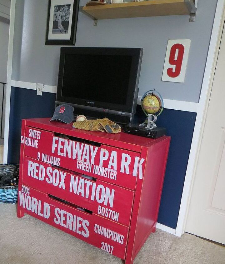 Looks great next to navy and grey! #subway #dresser #diy #baseball