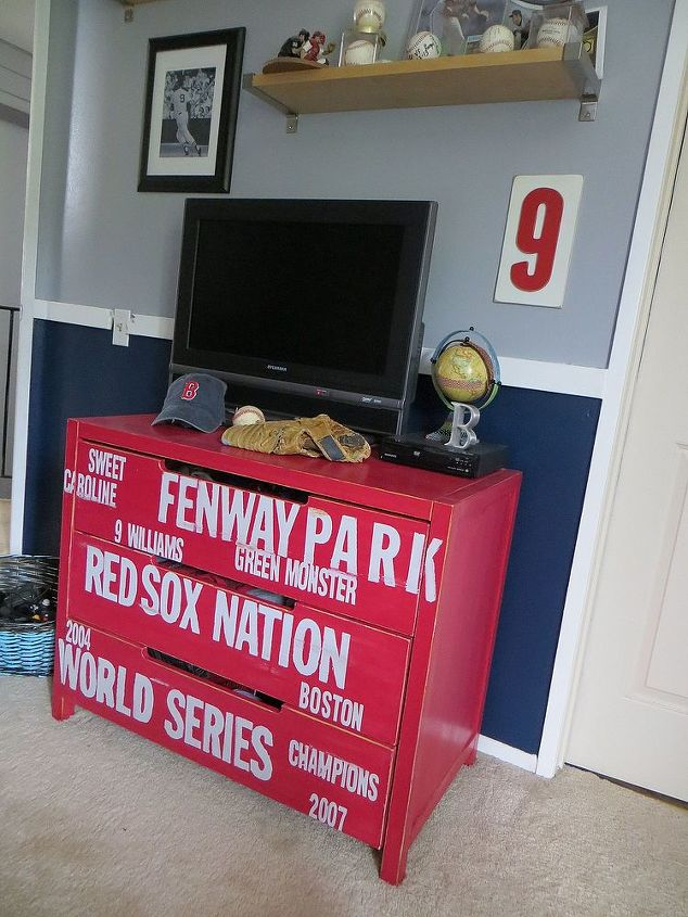 Looks great next to navy and grey! #subway #dresser #diy #baseball