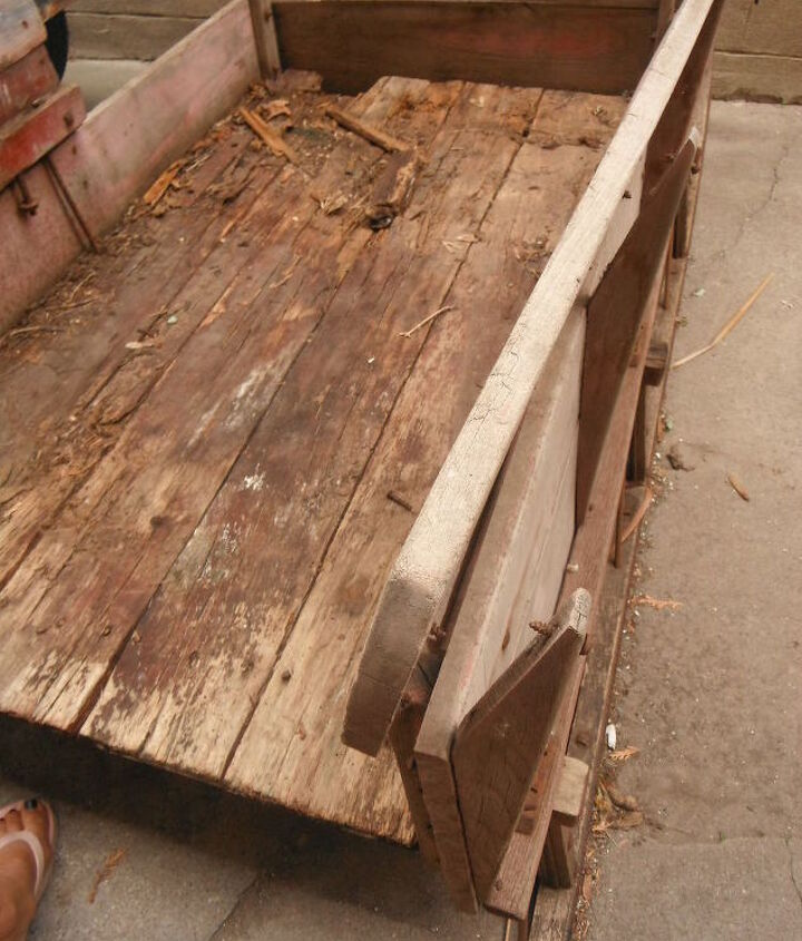 you nique sleigh bed transformation, painted furniture, So much Rot We chose Elmers wood rot stabilizer and a decent wood conditioner Of course replacing the base boards with 3 boards from a 200 yr old barn we helped tear down