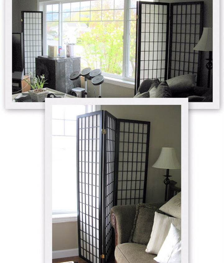let the sun in with old gate window screens, diy, home decor, how to, windows, woodworking projects, The screens started as your traditional japanese styled room dividers I found at the thrift The concept worked great but I wanted them to reflect me moreso